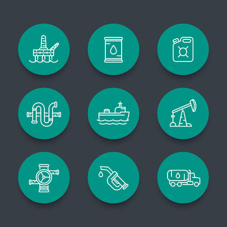 oil and gas industry: Petroleum industry line icons, barrel, oil and gas production platform, rig, derrick, oil tanker ship, gasoline nozzle, petrol can, vector illustration