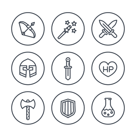 Game line icons in circles, RPG, sword, magic, bow, fantasy, armor, vector illustration