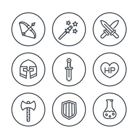 Spiel Linie Symbole in Kreisen, RPG, Schwert, Magie, Bogen, fantasie, Rüstung, Vektor-Illustration Standard-Bild - 60561794