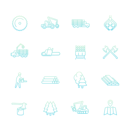logging: Logging line icons set, sawmill, forestry equipment, logging truck, tree harvester, timber, wood, lumber, vector illustration