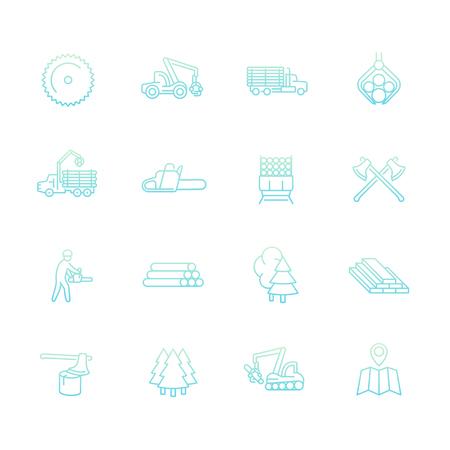 logging truck: Logging line icons set, sawmill, forestry equipment, logging truck, tree harvester, timber, wood, lumber, vector illustration