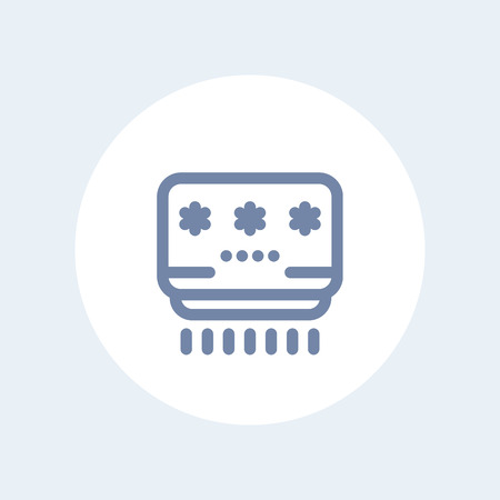 acclimatization: air conditioner line icon on white Illustration