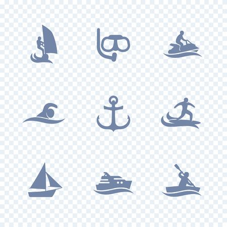 personal watercraft: water sports icons, diving, swimming, surfing, sailing, isolated icons, vector illustration Illustration