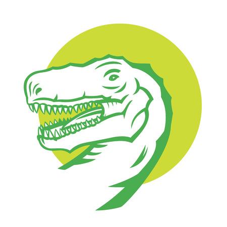tyrannosaur: Tyrannosaurus Rex, head of T. rex on white, vector illustration