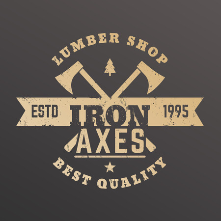 vintage timber: lumber shop vintage ,  timber store emblem with lumberjacks axes