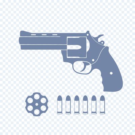 revolving: compact revolver, handgun, cylinder, cartridge, bullets, vector illustration Illustration