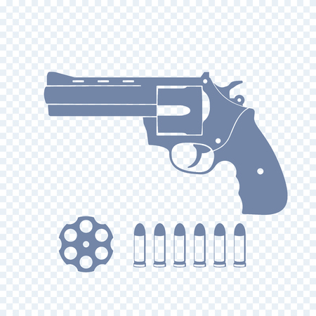 compact revolver, handgun, cylinder, cartridge, bullets, vector illustration Illustration