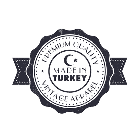 made manufacture manufactured: Made in Turkey, vintage sign, badge on white, vector illustration