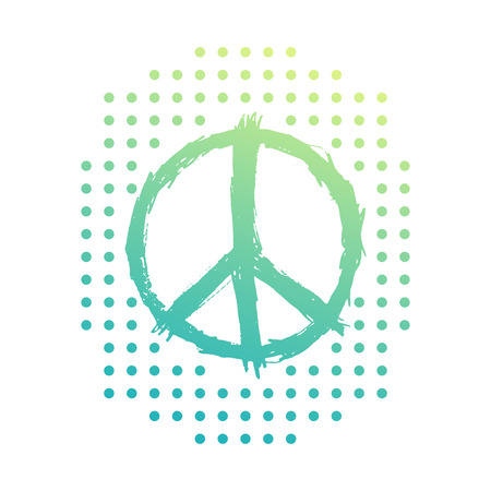 antiwar: t-shirt design, print with peace sign on white, vector illustration Illustration