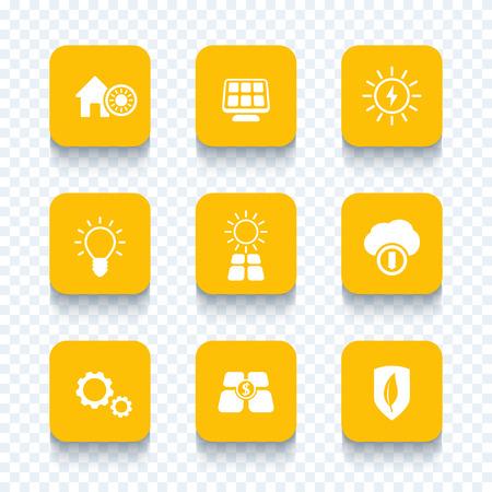 powered: Solar energy, electricity, sun powered, solar panels icons set, vector illustration Illustration