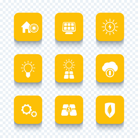 Solar energy, electricity, sun powered, solar panels icons set, vector illustration Stock Illustratie