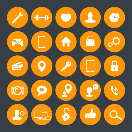 benchmark: 25 icons for web, apps development, websites, round isolated icons, vector illustration
