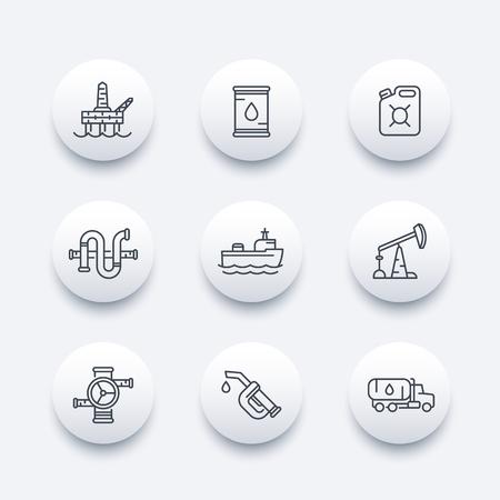 deep drilling: Petroleum industry line icons, oil rig, derrick, pipeline, barrel, drilling platform, oil tanker, gasoline nozzle, petrol can, vector illustration Illustration