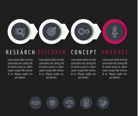 Produktentwicklung, Infografiken Elemente, Schritt Etiketten mit linearen Icons, Vektor-Illustration