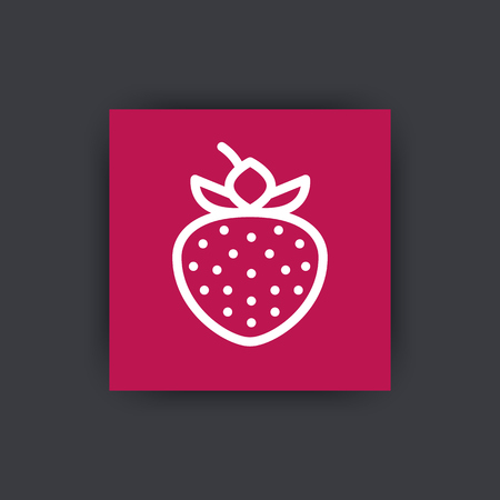 flavour: strawberry line icon on square, vector illustration Illustration