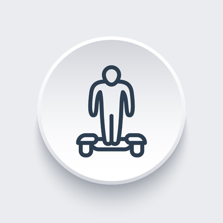 a two wheeled vehicle: hoverboard line icon on round 3d shape, vector illustration
