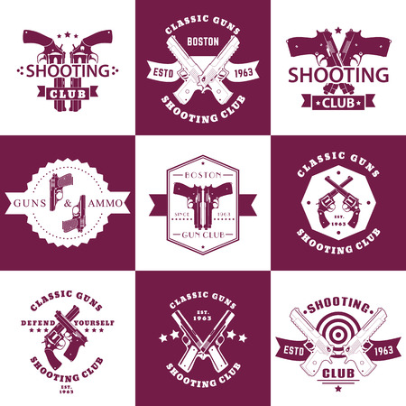 pistols: Shooting Club, Guns and Ammo vintage emblems, t-shirt prints with revolvers, guns, pistols, logo with handguns, vector illustration Illustration