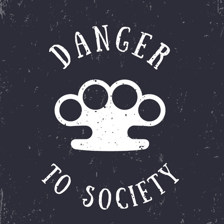 knuckles: t-shirt print with knuckles, danger to society Illustration