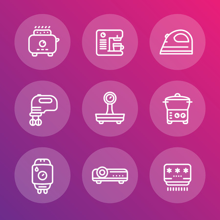 consumer electronics: Appliances, consumer electronics line icons, toaster, coffee machine, blender, iron, scales, steamer, boiler, projector, air conditioner, vector illustration