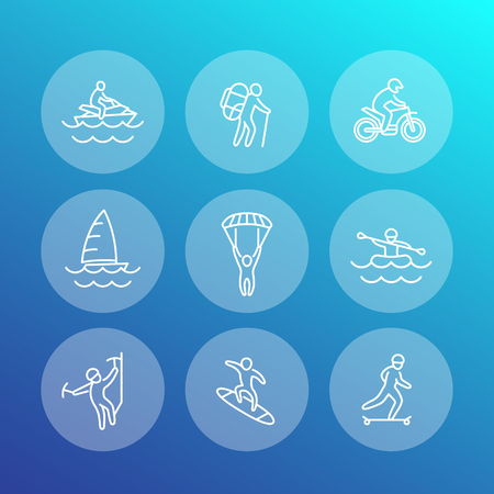 outdoor activities: extreme outdoor activities line icons, rafting, skydiving, alpinism, skateboarding, pwc, sailing, vector illustration