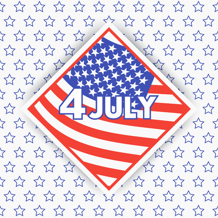 rhombic: 4th of july, Independence Day in USA, rhombic badge with american flag, vector illustration