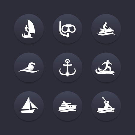 personal watercraft: water sports icons, diving, swimming, rowing, surfing, dark icons set, vector illustration