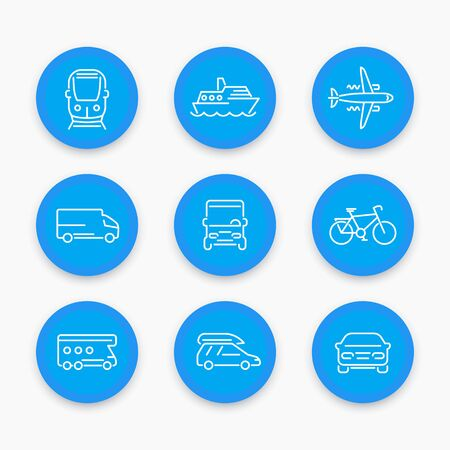portage: Transport line icons, car, van, bus, train, airplane, ship, round blue icons set, vector illustration