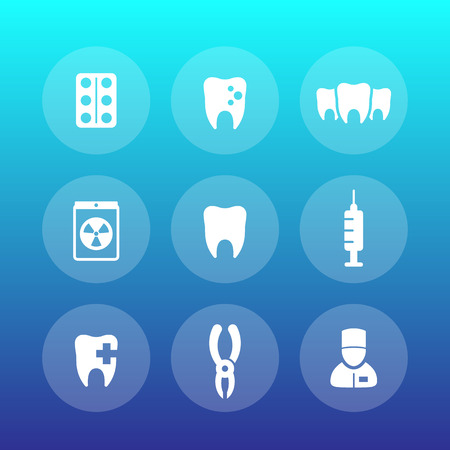 radiography: Teeth icons set, stomatology, dental clinic, toothache, dentist