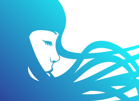 girl in profile with long blue hair Illustration