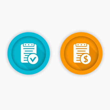 paycheck: Payroll, bill icons, blue and orange, vector illustration Illustration