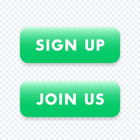 join us: sign up, join us green isolated buttons, vector illustration Illustration
