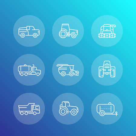 combine harvester: Agricultural machinery line icons set, combine harvester, agricultural vehicles, truck, pickup, vector illustration