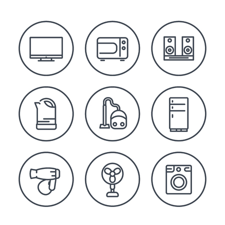 acoustics: Appliances line icons in circles, fridge, hairdrier, microwave oven, vacuum cleaner, kettle, acoustics, tv, fan, washing machine Illustration