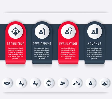 employee development: Staff, HR, employee development timeline template, steps, infographics elements, icons Illustration