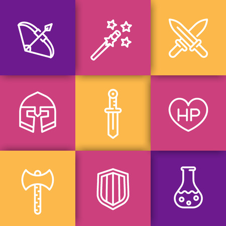 fantasy sword: Game line icons, RPG, fantasy, sword, magic, bow, armor, helmet, vector illustration