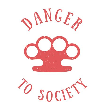 knuckles: t-shirt print with knuckles, danger to society, red on white, vector illustration Illustration