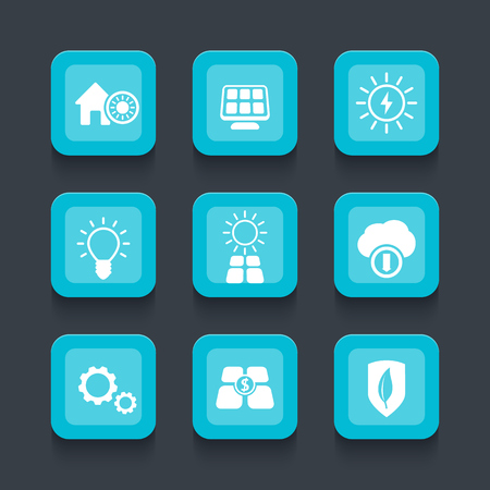 powered: Solar energy, electricity, sun powered, blue rounded square icons, vector illustration