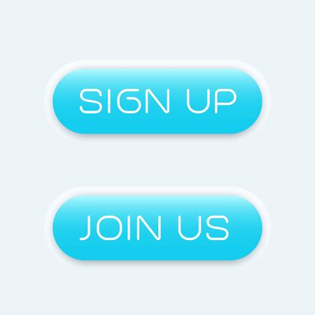 blue buttons: sign up, join us blue buttons for websites, vector illustration
