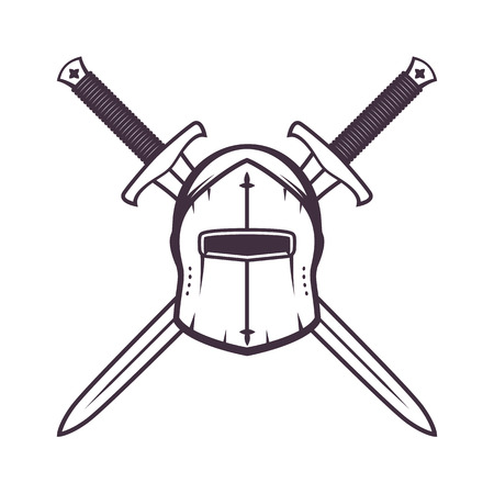 medieval helmet and crossed swords isolated on white, vector illustration