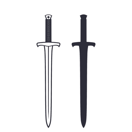 longsword: medieval sword isolated on white, vector illustration