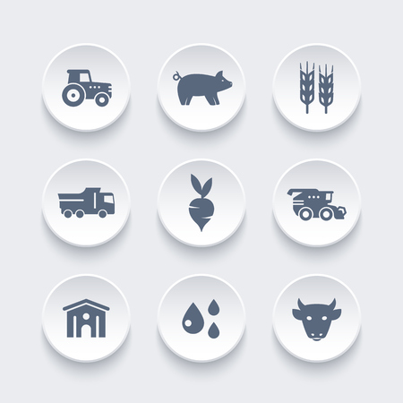 Agriculture, farming icons set, harvest, cattle, pigs, hangar, agrimotor, harvester, wheat, vector illustration