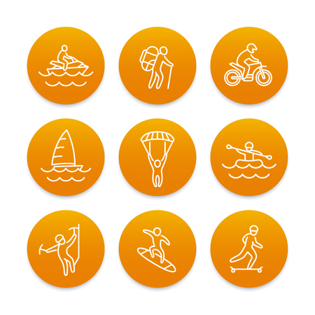 outdoor activities: extreme outdoor activities line icons, round orange pictograms, vector illustration