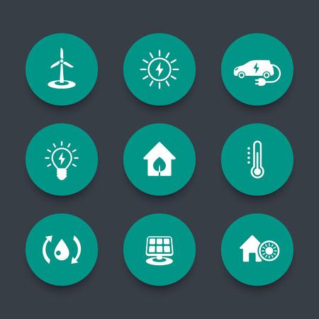 ecologic: Green ecologic house round icons set, vector illustration Illustration