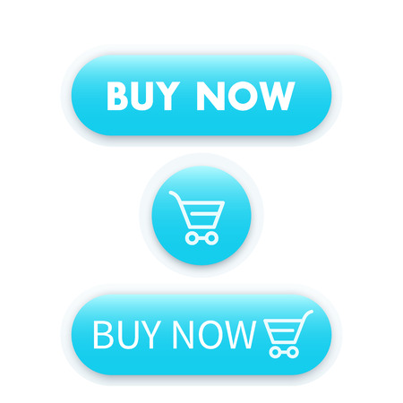 blue buttons: buy now, blue buttons for web with shopping trolley, vector illustration Illustration