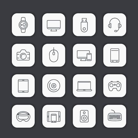 gadgets: Modern gadgets line icons, trendy devices, vector illustration Illustration