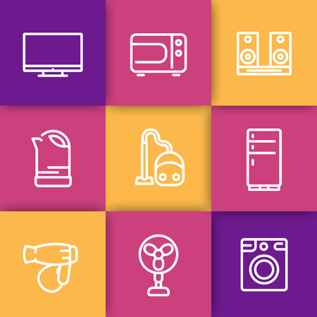 acoustics: Appliances line icons, microwave oven, vacuum cleaner, kettle, acoustics, tv, fan, fridge, dryer, washing machine, vector illustration