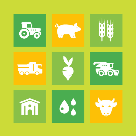 hangar: Agriculture, farming icons, agrimotor, harvest, cattle, pigs, hangar, agricultural machinery, vector illustration Illustration