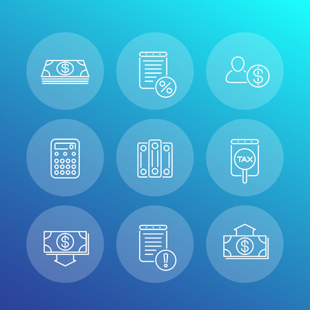 valuation: Bookkeeping line icons, finance, tax, accounting, rating, valuation, vector illustration