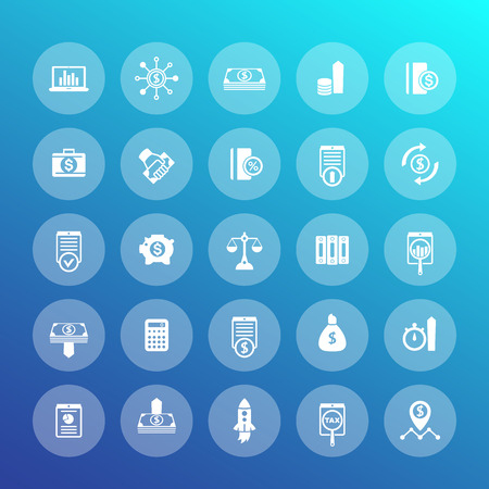 futures: 25 finance icons, investing, capital, shares, investor, portfolio, funds, investment, income, vector illustration