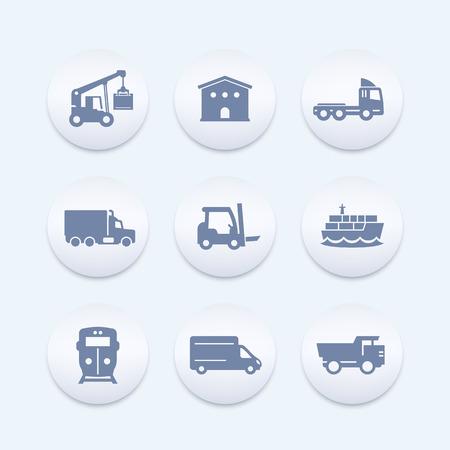 lading: transportation, logistics icons set, warehouse, cargo train, ship, truck, loader